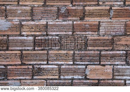 Red Aged Grunge Retro Old Vintage Curved Pattern Brick Wall, Rich Colors And Shadows Suitable For We