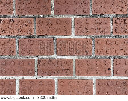 Red Raised Circular Close-up Vintage Pattern Brick Pave, Rich Colors And Shadows Suitable For Websit