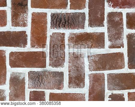 Vintage Close-up View Clean Textured Red Pave Pattern Brick, New Grout Looking Down Suitable For Web
