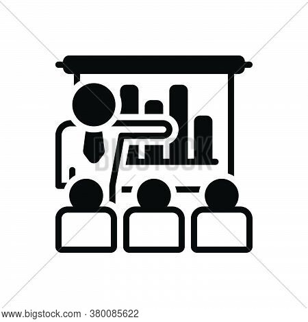 Black Solid Icon For Business-presentation-with-bars-graphic Demonstration Workshop Audience Spectat
