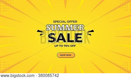Summer Sale Banner Design With Special Price Discounts Of Up To 70%. Vector Graphic Web Banner Templ