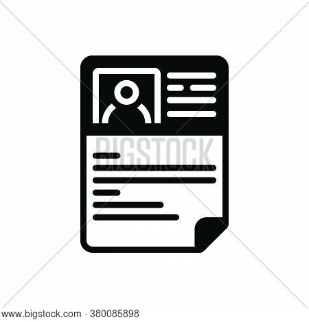 Black Solid Icon For Resume Document Profile Unemployment Application Summary Detail Expansion Elabo