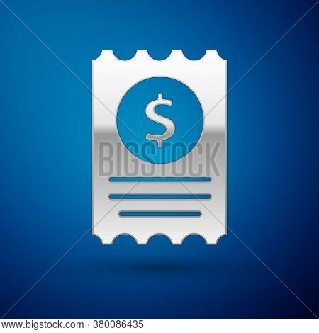 Silver Paper Check And Financial Check Icon Isolated On Blue Background. Paper Print Check, Shop Rec