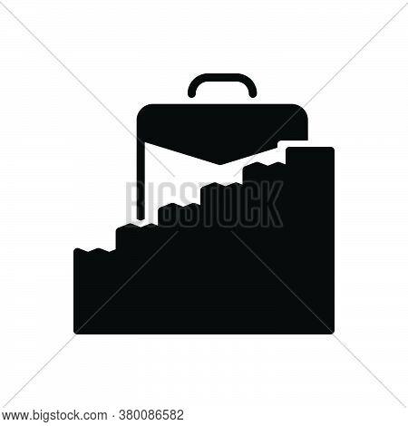 Black Solid Icon For Career-ladder Career Ladder Briefcase Ambition Development Motivation Success U