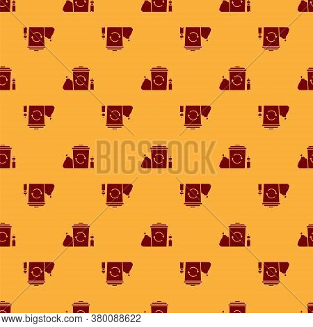 Red Recycle Bin With Recycle Symbol Icon Isolated Seamless Pattern On Brown Background. Trash Can Ic