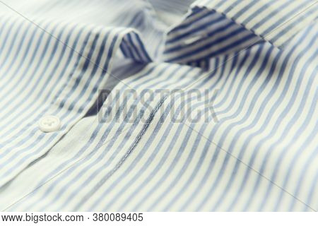 Close Up Of Men's Striped Shirt. Soft Focus. Copy Space.