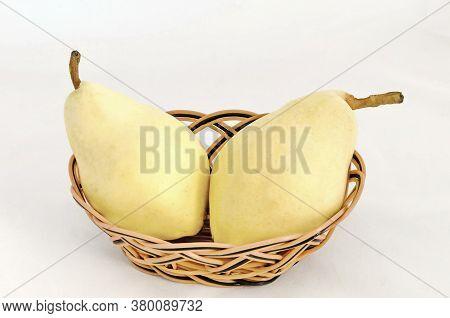 Fresh Ripe Healthy Yellow Pears In Basket,  Ready To Eat, Sofia, Bulgaria