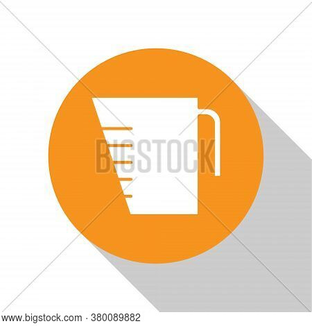 White Measuring Cup To Measure Dry And Liquid Food Icon Isolated On White Background. Plastic Gradua