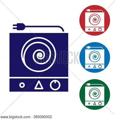 Blue Electric Stove Icon Isolated On White Background. Cooktop Sign. Hob With Four Circle Burners. S