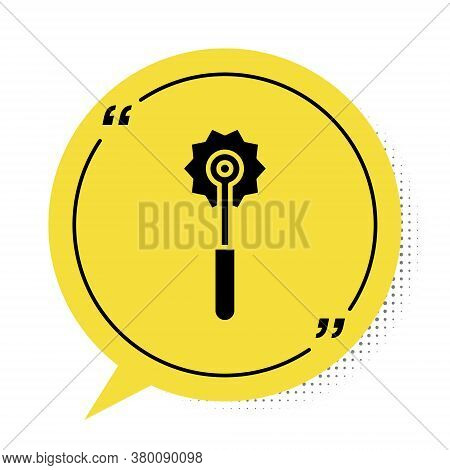 Black Pizza Knife Icon Isolated On White Background. Pizza Cutter Sign. Steel Kitchenware Equipment.