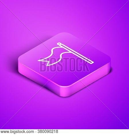 Isometric Line Meteorology Windsock Wind Vane Icon Isolated On Purple Background. Windsock Indicate