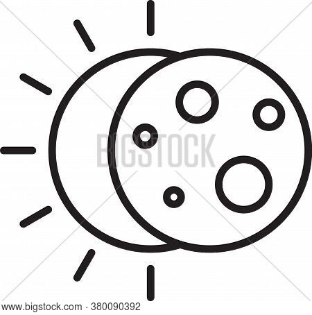 Black Line Eclipse Of The Sun Icon Isolated On White Background. Total Sonar Eclipse. Vector Illustr