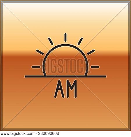 Black Line Sunrise Icon Isolated On Gold Background. Vector Illustration