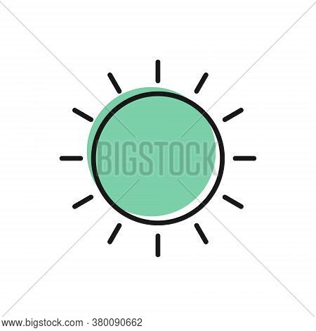 Black Line Sun Icon Isolated On White Background. Summer Symbol. Good Sunny Day. Vector Illustration