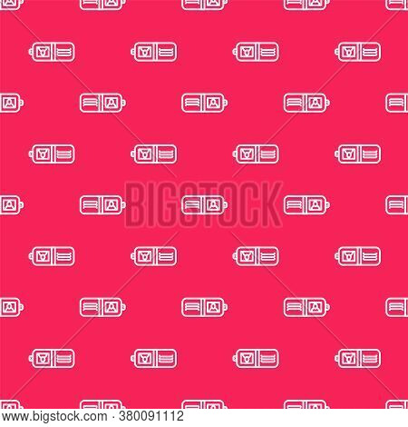 White Line Wallet Icon Isolated Seamless Pattern On Red Background. Purse Icon. Cash Savings Symbol.