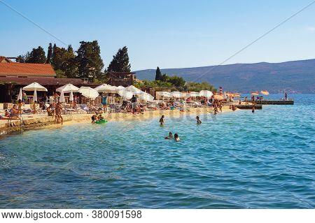 Tivat/ Montenegro - July 16 2020: Summer Beach Vacation. Beautiful Mediterranean Landscape.  Montene