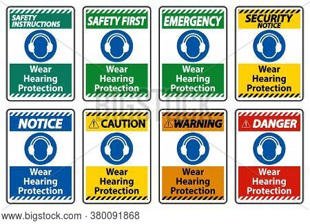Wear Hearing Protection Sign On White Background
