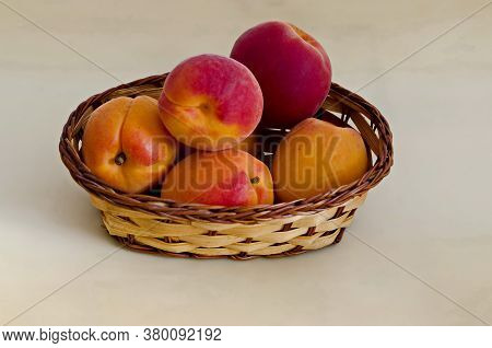 Group Of Ripe Apricots  In A Basket, Ready To Eat Or Background, Sofia, Bulgaria