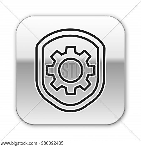 Black Line Shield With Settings Gear Icon Isolated On White Background. Adjusting, Service, Maintena