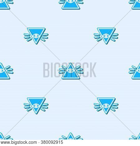 Blue Line Masons Symbol All-seeing Eye Of God Icon Isolated Seamless Pattern On Grey Background. The