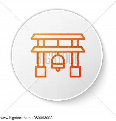 Orange Line Japan Gate Icon Isolated On White Background. Torii Gate Sign. Japanese Traditional Clas