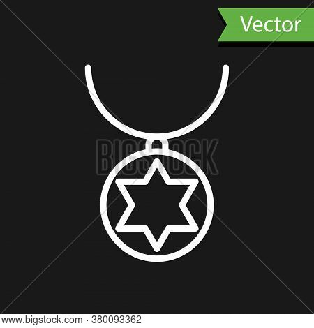 White Line Star Of David Necklace On Chain Icon Isolated On Black Background. Jewish Religion. Symbo