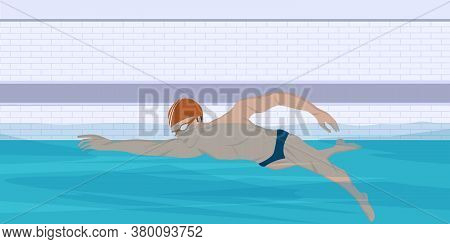 Swimmer In The Pool - Vector. Water Sport. Interior