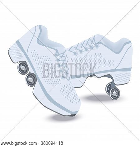 Roller Skates - A Pair Of White With Decorative Trim - Isolated On White Background - Vector.
