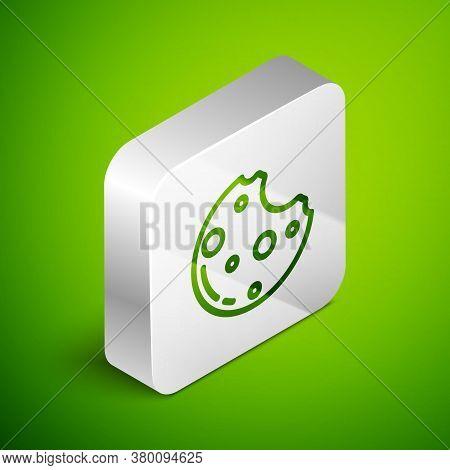 Isometric Line Chocolate Cookies With Marijuana Leaf Icon Isolated On Green Background. Weed, Ganja,