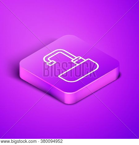 Isometric Line Washbasin With Water Tap Icon Isolated On Purple Background. Purple Square Button. Ve