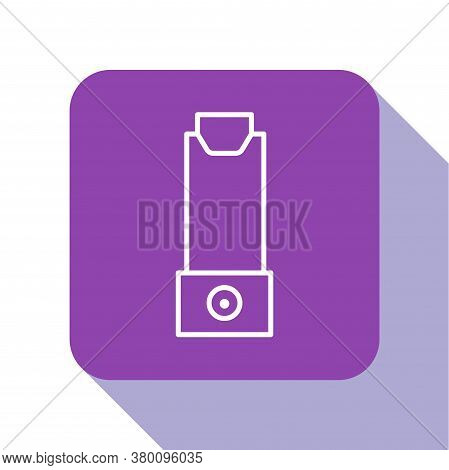 White Line Inhaler Icon Isolated On White Background. Breather For Cough Relief, Inhalation, Allergi
