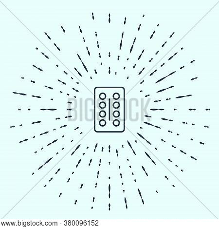 Black Line Pills In Blister Pack Icon Isolated On Grey Background. Medical Drug Package For Tablet,