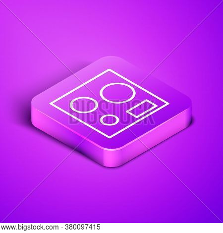 Isometric Line Electric Stove Icon Isolated On Purple Background. Cooktop Sign. Hob With Four Circle