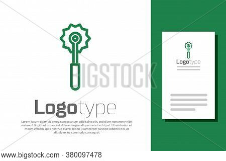 Green Line Pizza Knife Icon Isolated On White Background. Pizza Cutter Sign. Steel Kitchenware Equip