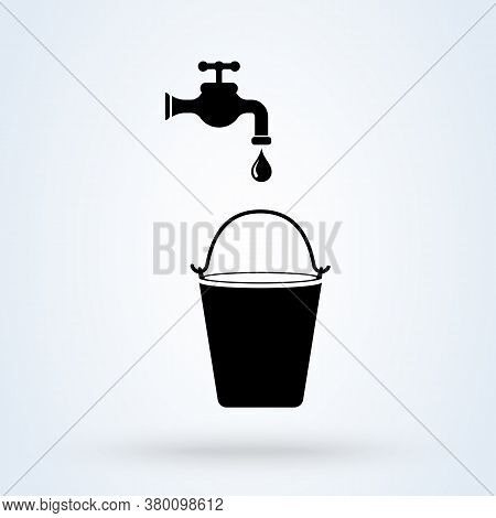 Vector Illustration Of Pouring Water In Bucket. Illustration Of Water Wastage From Damage Bucket. Si