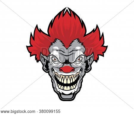 Evil Cartoon Clown Illustration.Vector Illustration For Use As Print, Poster, Sticker, Logo, Tattoo