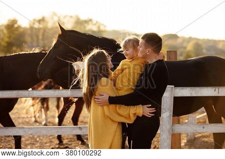 Young Parents Walk With Little Daughter Near Horses In Autumn Park. Dad And Mom Holding Baby Girl. H