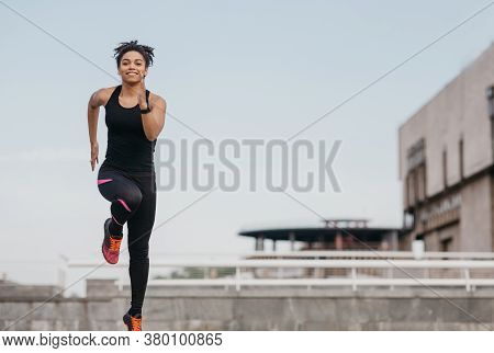 Morning Run And Workout. Happy African American Girl In Trendy Sportswear And Sneakers, With Fitness