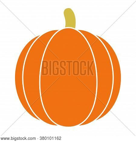 Pumpkin Halloween Icon Vector. Pumpkin Flat Silhouette On A White Background