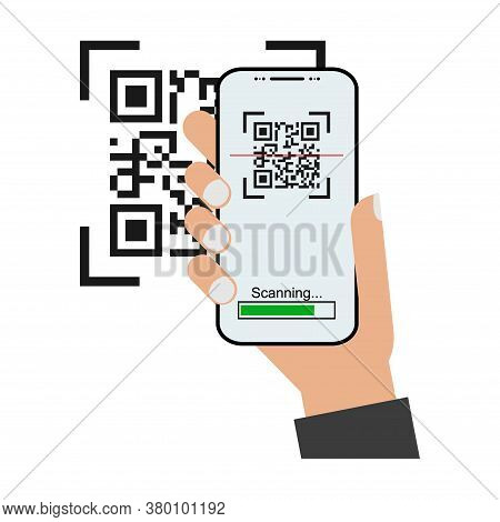 Mobil Scan Flat Icon With Hand Isolated On White Background. Qr Code Reader Vector Illustration