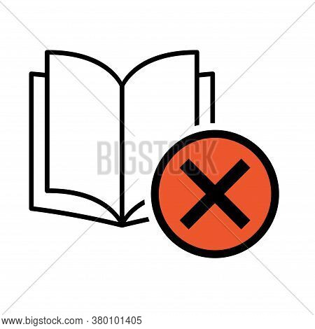 Book Icon, Donts Open Education Textbook, Library Vector Illustration Symbol. Learning Design Isolat