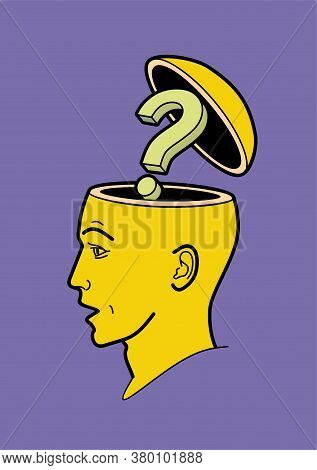 Human Head.  A Man's Brain Is Open. Abstract Form Of An Open Human Head. Profile Man. Profile Man. T