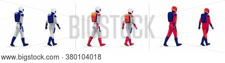 Rear View Astronauts Explorer Walking On White Background. Future Moon Mars Red Planet Exploration M