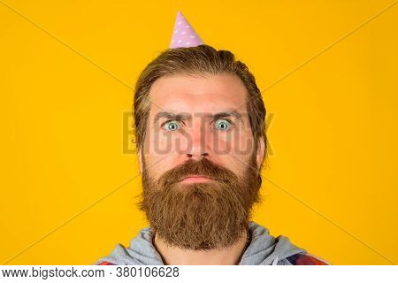 Happy Birthday. Man With Party Hat. Celebrating Concept. Party Time. Joy, Fun And Happiness Concept.