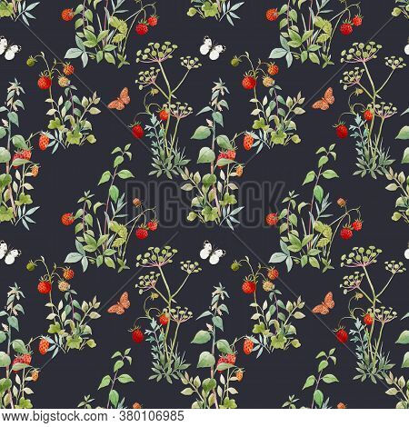 Beautiful Seamless Floral Pattern With Watercolor Forest Plants And Berries. Stock Illustration.