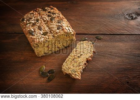 Healthy Protein Bread From Lupine Flour, Oat Bran, Almond, Pumpkin Seeds And Other Healthy Ingredien