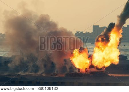 Close Up Of A Military Strike Or Bomb In War On An Suv With Tanks Causing Fire Balls And Explosion I