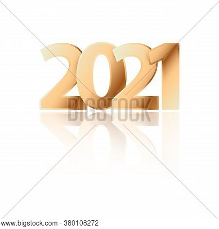 Vector Poster With Golden Numbers 2021 For Happy New Year. Bright Golden Date 2021 For Greeting Card