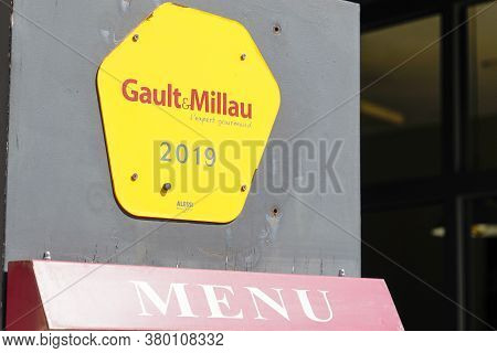 Bordeaux , Aquitaine / France - 08 04 2020 : Gault Et Millau Logo And Sign Of Influential French Res