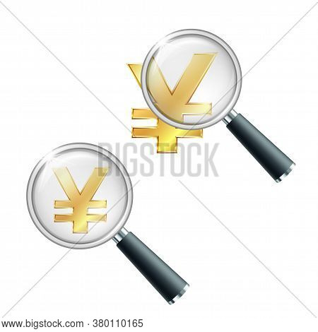 Golden Yen Currency Sign With Magnifying Glass.